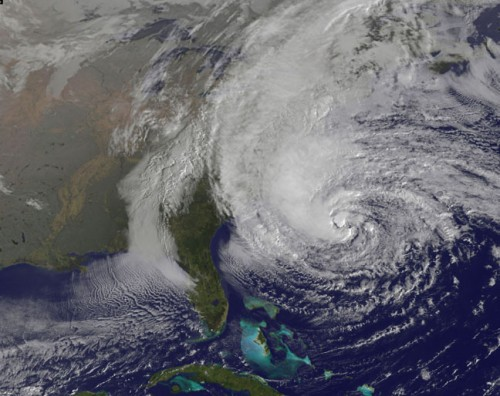 Image of Hurricane Sandy on October 28th, 2012