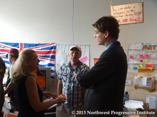 David Eby talks with supporters