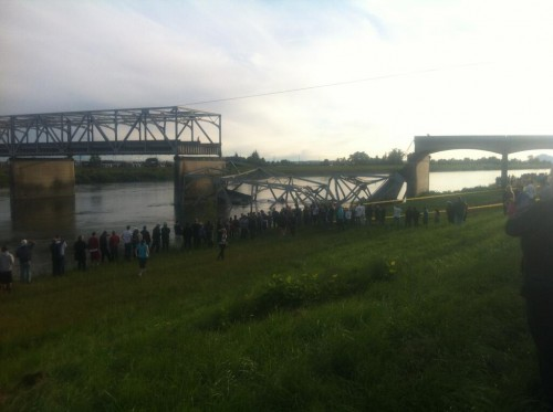 The collapsed section of the bridge that carries I-5 over the Skagit River