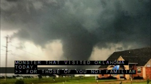 The monster tornado that ripped through Moore, Oklahoma earlier today (Image shown on KTOR's live feed and courtesy of KTOR)