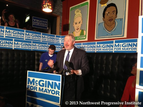 Seattle Mayor Mike McGinn speaks at 95 Slide on Capitol Hill following the release of initial results. (Photo: NPI)