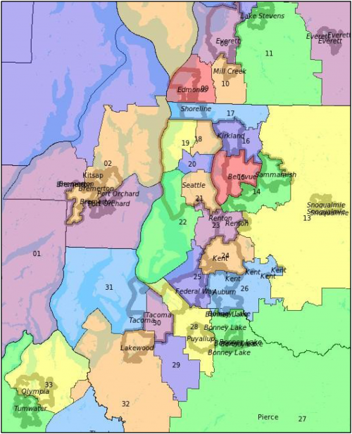 Washington state legislative district map
