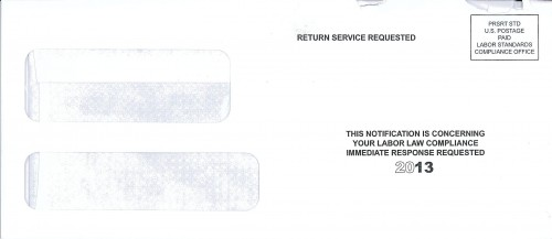 "Envelope containing letter from the ""Labor Standards Compliance Office"""