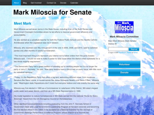 Screenshot of Mark Miloscia's website