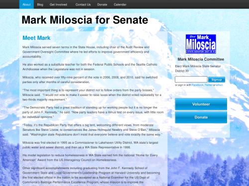 Screenshot of Mark Miloscia's website