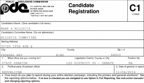 Mark Miloscia files as a Republican