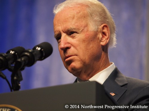 Joe Biden studies the audience at Netroots Nation during his Thursday afternoon keynote. (Photo: Andrew Villeneuve/NPI)
