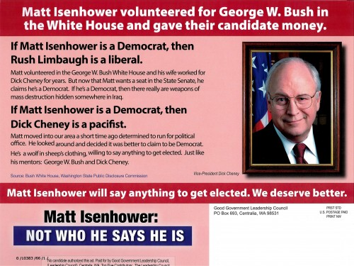 Back of Republican Party attack mailer against Matt Isenhower