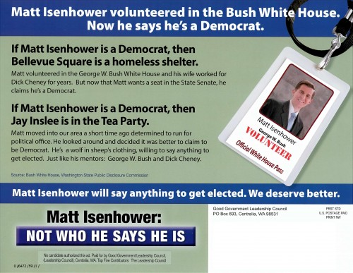 Back of the second Republican Party attack mailer against Matt Isenhower