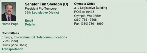 Tim Sheldon's entry on the Washington State Senate roster