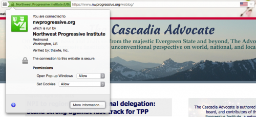 Screenshot of address bar in Firefox with Cascadia Advocate loaded