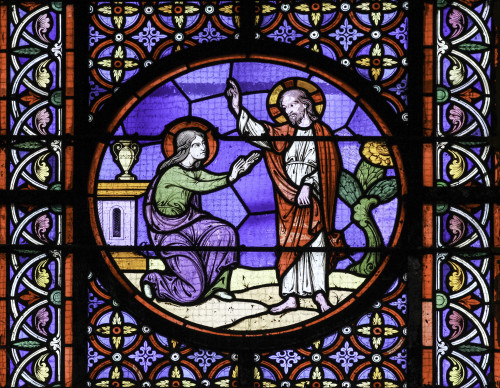 Stained glass window depicting Resurrection scene