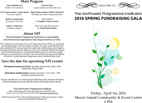 Program for NPI's 2016 Spring Fundraising Gala