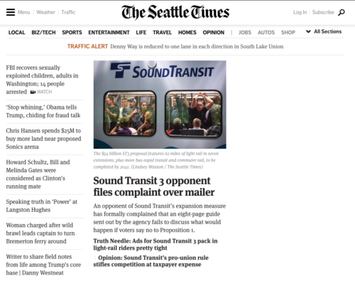 Screenshot of Seattle Times bashing Sound Transit 3