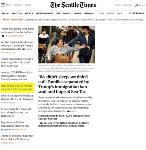 Homepage of the Seattle Times