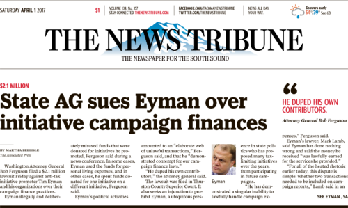 Above-the-fold News Tribune headline for April 1st, 2017
