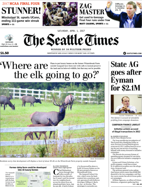 Above-the-fold Seattle Times headline for April 1st, 2017