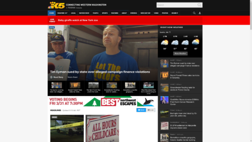 KING TV's website with Eyman litigation headline