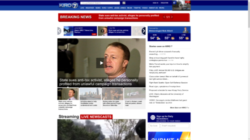 KIRO TV's website with Eyman litigation headline