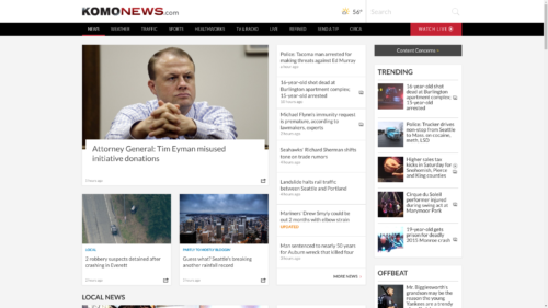KOMO TV's website with Eyman litigation headline