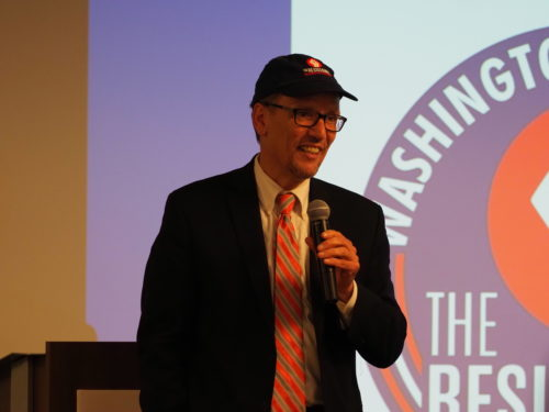 Tom Perez speaking at an event for the Washington State Democrats