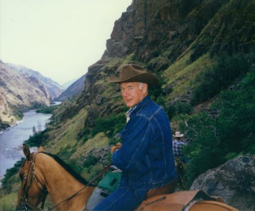 Cecil Andrus on horseback