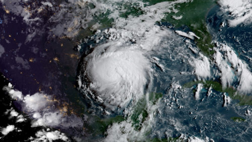 Hurricane Harvey before making landfall
