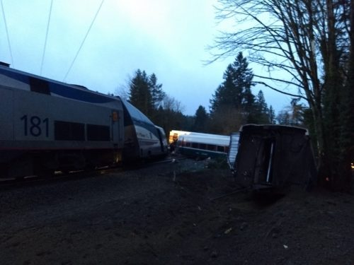 The wreckage of Amtrak Cascades 501