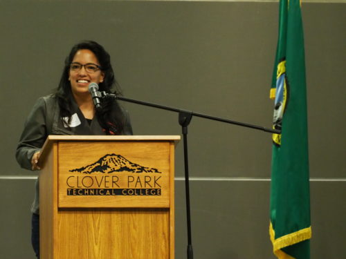 State Representative Kristine Reeves speaking at Clover Park Technical College