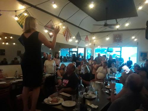 Senate hopeful Shannon Braddock addresses her supporters in West Seattle