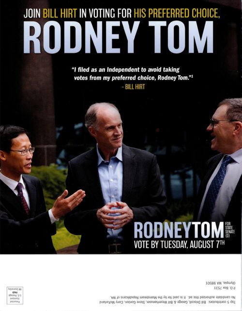 Back of a mailer paid for by the Mainstream Republicans in support of Rodney Tom