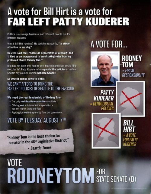 Front of a mailer paid for by the Mainstream Republicans in support of Rodney Tom