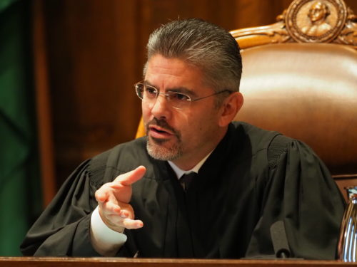 Justice Steve Gonzalez asks a question during the McCleary case (Photo: Andrew Villeneuve/NPI)