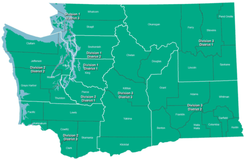 Map of Washington State's Court of Appeals divisions and districts