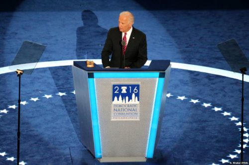 Joe Biden speaking at the 2016 DNC