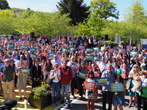 Huge crowd cheers after landmark environmental bills signed