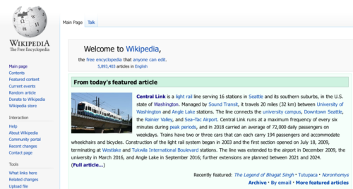 Wikipedia features Link light rail