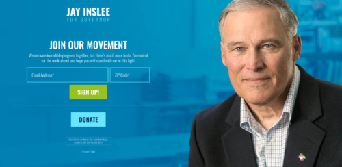 Splash page for Jay Inslee's reelection camapign