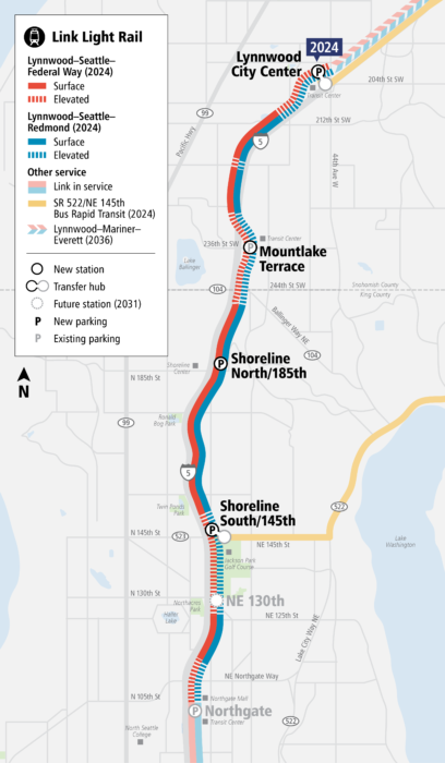 Map of Lynnwood Link