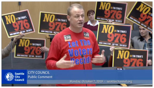 Tim Eyman surrounded by NO on I-976 signs