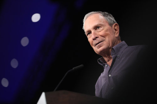 Michael Bloomberg delivers a speech to the Presidential Gun Sense Forum