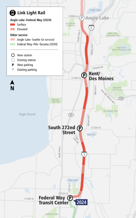 Map of the Federal Way Link extension