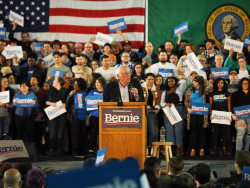 Bernie Sanders addressing a big crowd in Tacoma