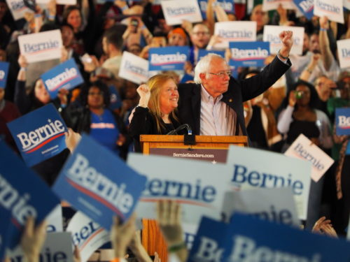 Bernie and Jane Sanders at the conclusion of Tacoma rally
