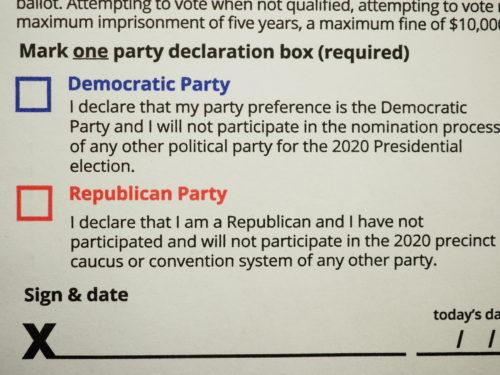 Party ballot declarations