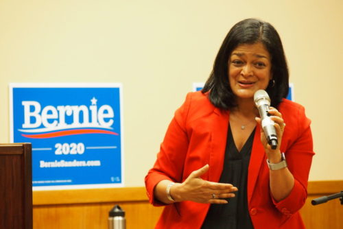 Pramila Jayapal speaking at a Sanders campaign event