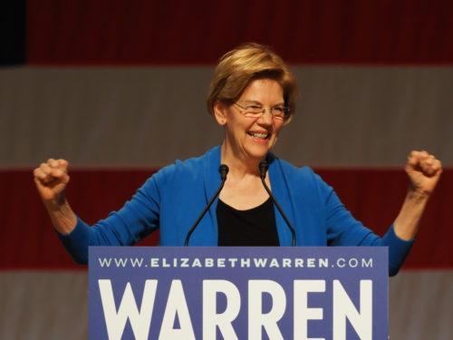 Elizabeth Warren greets supporters in Seattle
