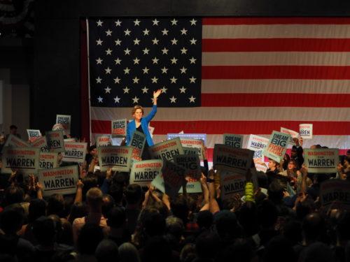 Supporters cheer Elizabeth Warren