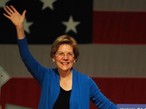 Elizabeth Warren waves