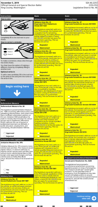 Sample King County ballot for 2019 with highlighting